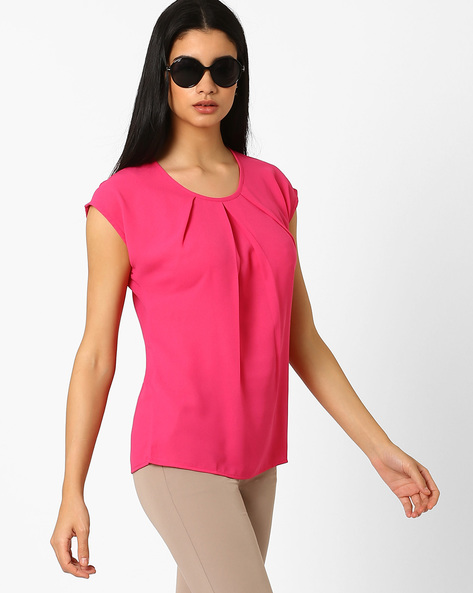 Pleat-Front Top With Cap Sleeves By AJIO ( Magenta )