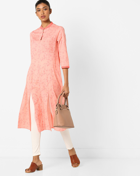 Floral Print Kurta With Mandarin Collar By AJIO ( Peach )