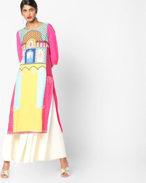 Printed Boat-Neck Straight Kurta By W ( Pink )