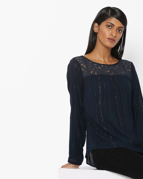 Top With Lace Yoke By FIG ( Navy )