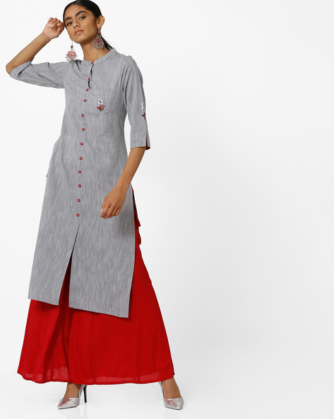 Embroidered Straight Kurta With Patch Pocket By AVAASA MIX N' MATCH ( Medgrey )