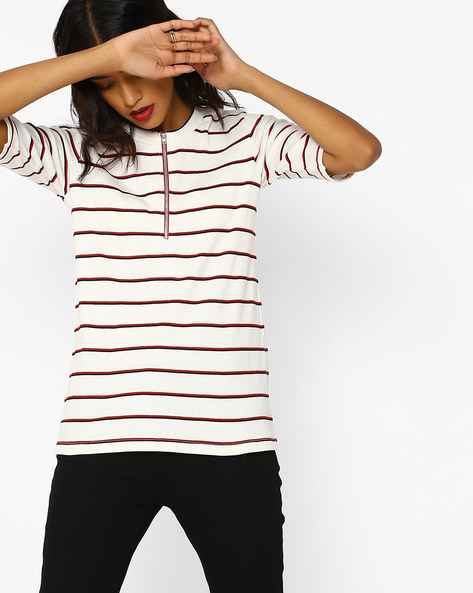 Striped Crew-Neck Top By Teamspirit ( Offwhite )