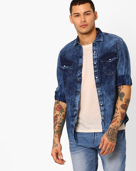 Slim Fit Denim Shirt With Flap Pockets By Pepe Jeans ( Blue )