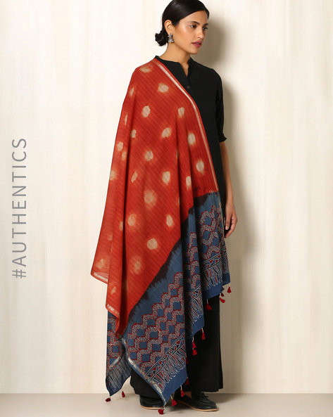Ajrak Handblock Print Shibori Cotton Dupatta By Indie Picks ( Red ) - 460045138001