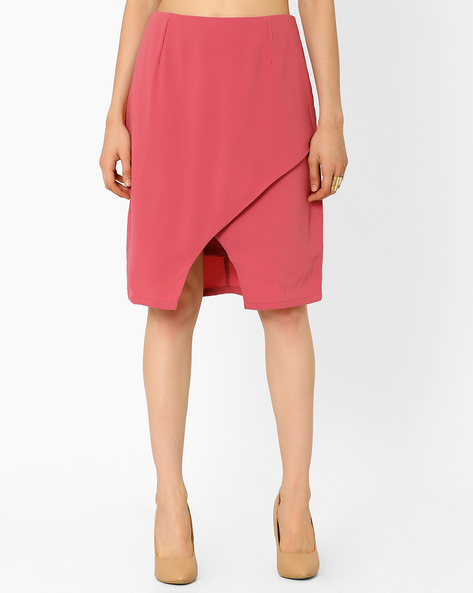 Overlap-Front Georgette Pencil Skirt By AJIO ( Pink )