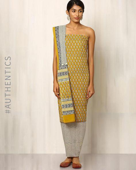 Bagru Print Cotton Dress Material By Indie Picks ( Mustard ) - 460016879001