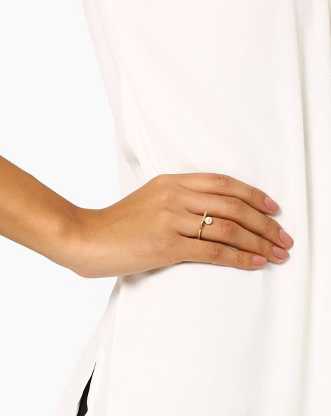 Brass Ring With Pearl By AJIO ( Whitegold )