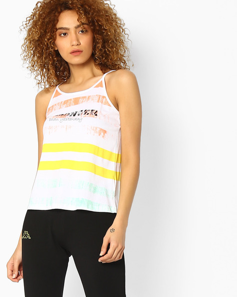 Striped Strappy Top By KAPPA ( Yellow )