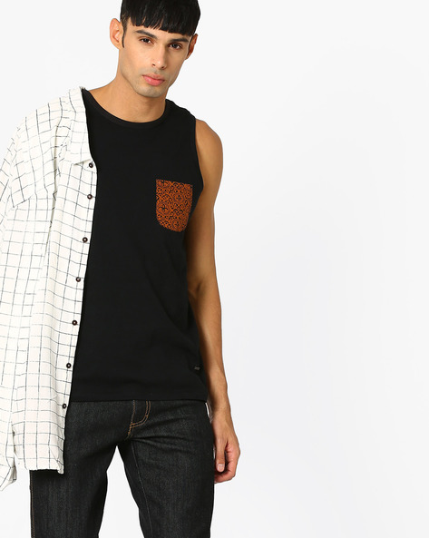 Summer Tank With Printed Pocket By AJIO ( Black )
