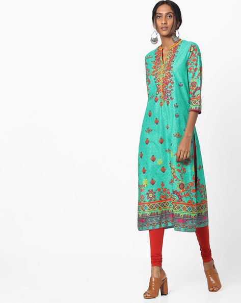 Printed Straight Kurta By Biba ( Turquoise ) - 460152286001