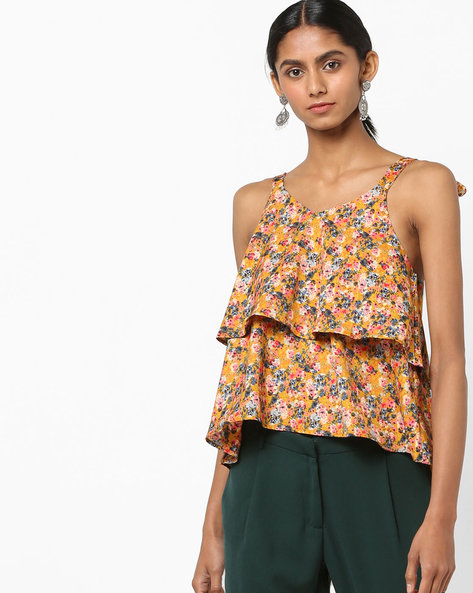 Tiered Floral Print Top With Tie-Up Sleeves By AJIO ( Mustard )