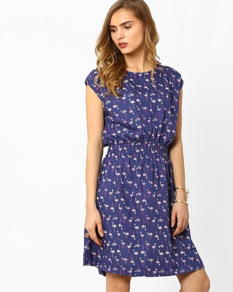 Printed Fit & Flare Dress By AJIO ( Navyblue )