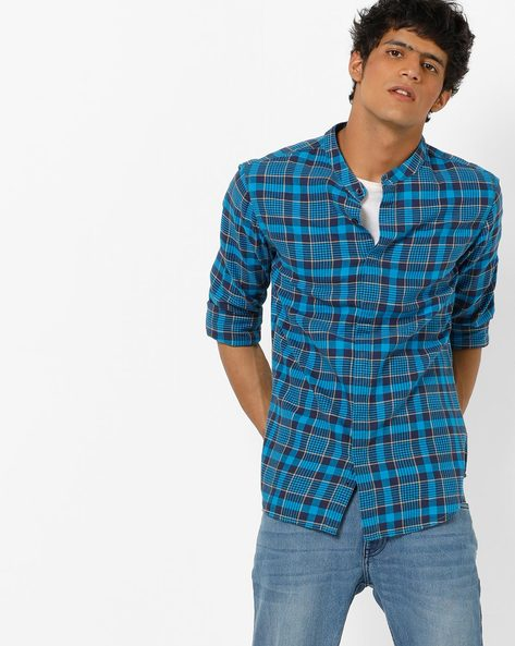 Checked Cotton Shirt With Band Collar By AJIO ( Blue )