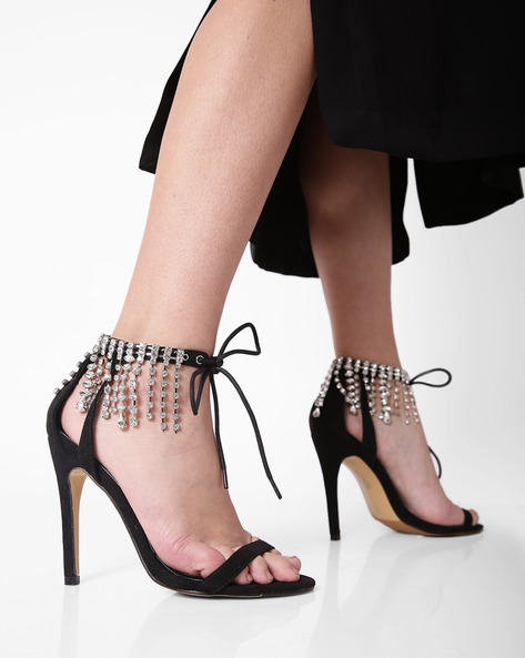 Ankle-Strap Stilettos With Embellishments By Truffle Collection ( Black )