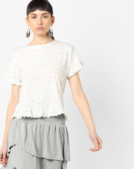 Knitted Top With Ruffled Panels By AJIO ( White )