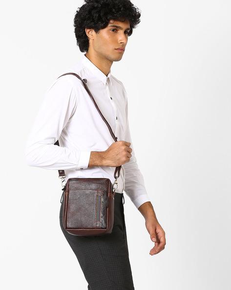 Genuine Leather Messenger Bag By Tortoise ( Darkbrown )