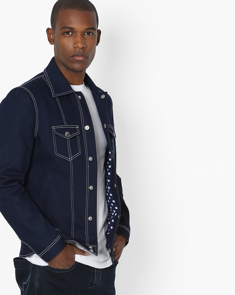 Jacket With Flap Pockets By MR.BUTTON ( Blue )