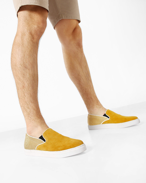 Denim Casual Shoes With Elasticated Gussets By ALBERTO TORRESI ( Yellow )