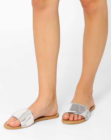 Slide Flats With Velcro Closure By AJIO ( Silver )