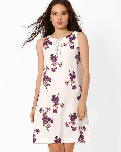 Floral Print Shift Dress By AJIO ( Offwhite )