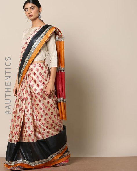 Handloom Pure Silk Tussar Printed Saree By Indie Picks ( Multi ) - 460147002001