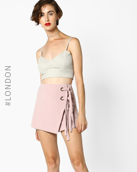 Crop Top With Strappy Sleeves By MDS ( Grey )