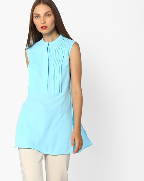 Sleeveless Tunic With Pintucks By AJIO ( Blue )