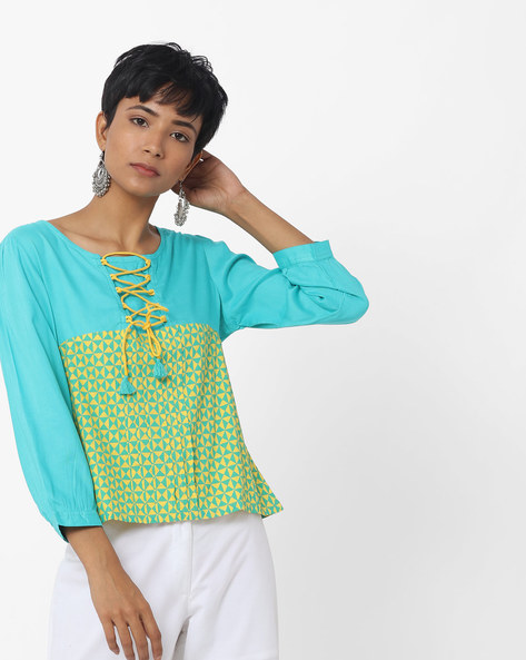 Printed Top With Front Lace-Up By Indusdiva ( Teal )