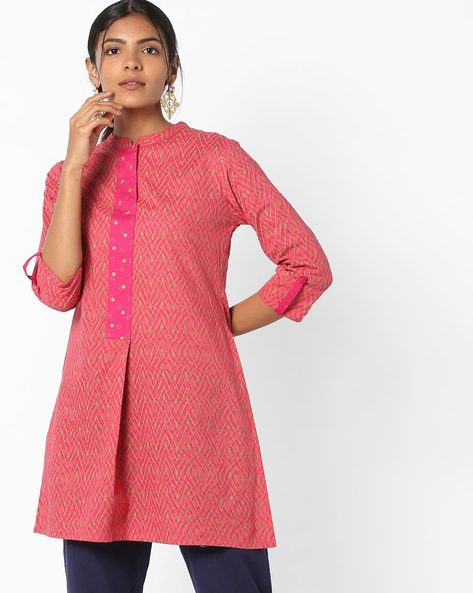 Printed Straight Kurti With Contrast Panel By AJIO ( Olive )