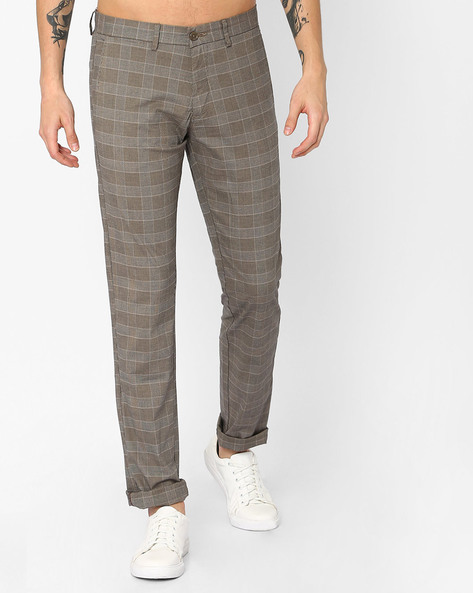 Tapered Fit Checked Trousers By BASICS ( Beige )