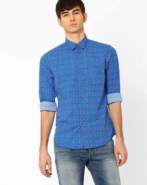 Tabor Sport Slim Fit Shirt By Wills Lifestyle ( Blue )