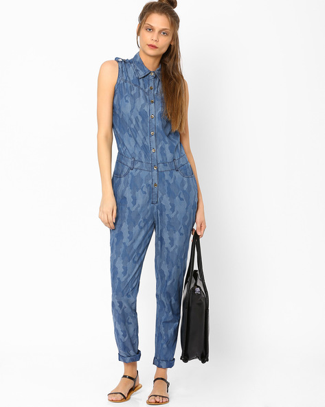 Camouflage Print Denim Jumpsuit By AJIO ( Lightblue )