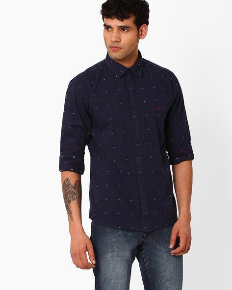 Slim Fit Shirt With Curved Hemline By CRIMSOUNE CLUB ( Black )