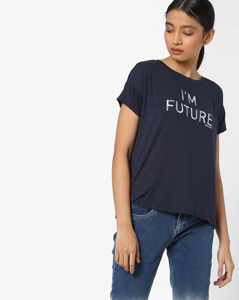 Typographic T-shirt With Drop Shoulders By LEVIS ( Blue )