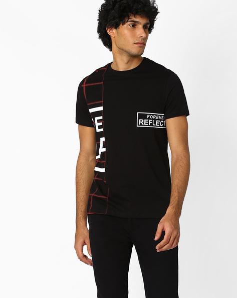 Printed Crew-Neck Slim T-shirt By AJIO ( Black )