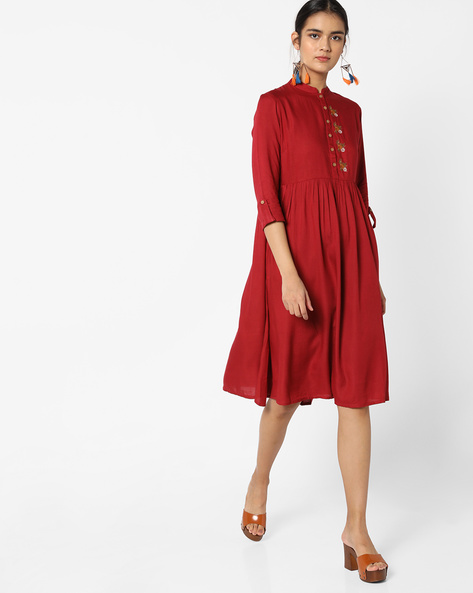 Fit & Flare Dress With Embroidery By AJIO ( Maroon )