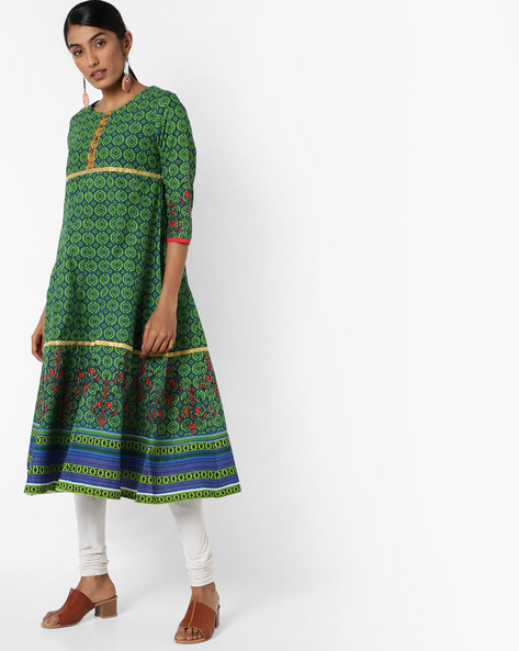 All-Over Print Cotton Flared Kurta By Jiyaa ( Green )