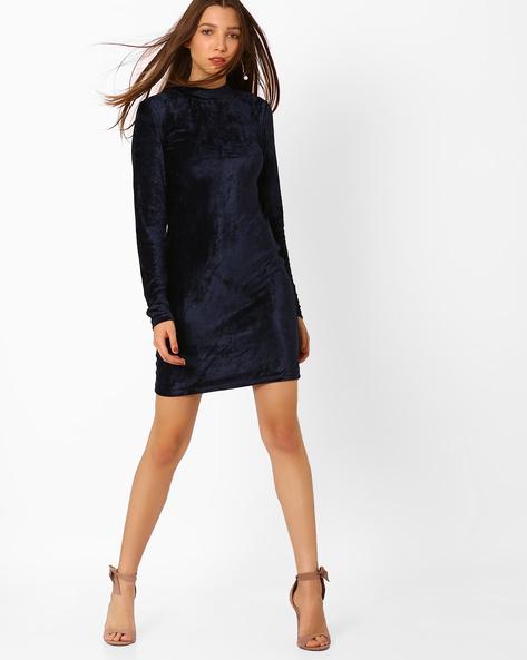 Full Sleeves Bodycon Dress By Vero Moda ( Navy )