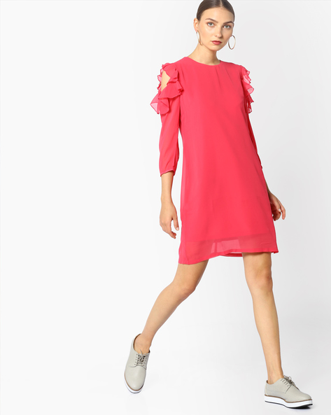 Shift Dress With Ruffled Cold-Shoulder Sleeves By AJIO ( Coral )