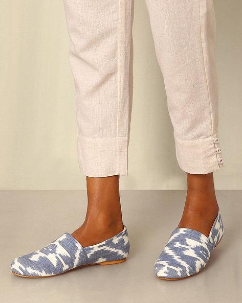 Handwoven Ikat Slip-Ons By Ada ( Lightblue )