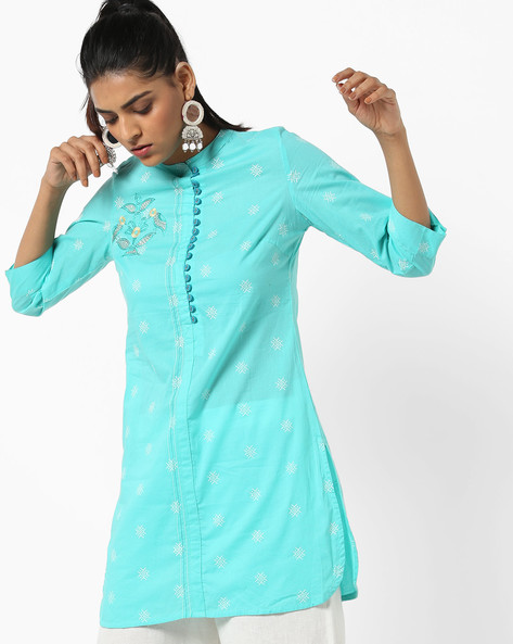 Printed Straight Kurti With Mandarin Collar By AJIO ( Turquoise )