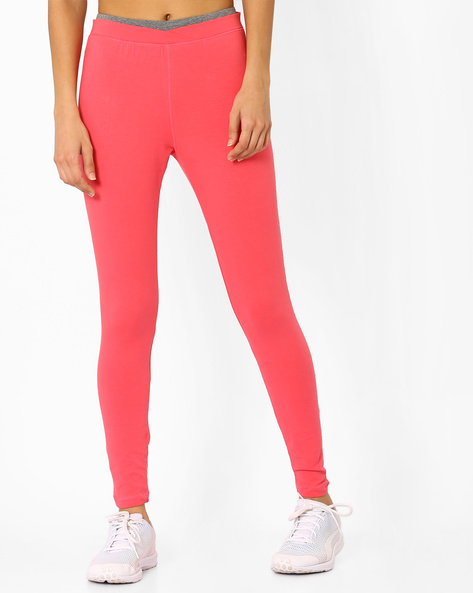 Knitted Leggings With Elasticated Waist By AJIO ( Coral )