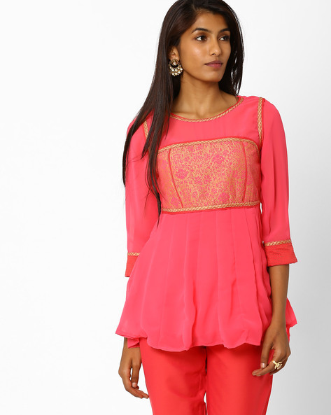 Flared Tunic With Embroidery By AJIO ( Pink )