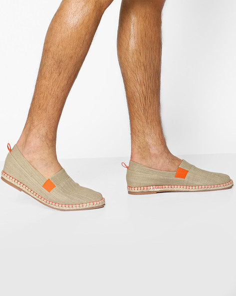 Panelled Espadrilles With Elasticated Gussets By AJIO ( Beige )
