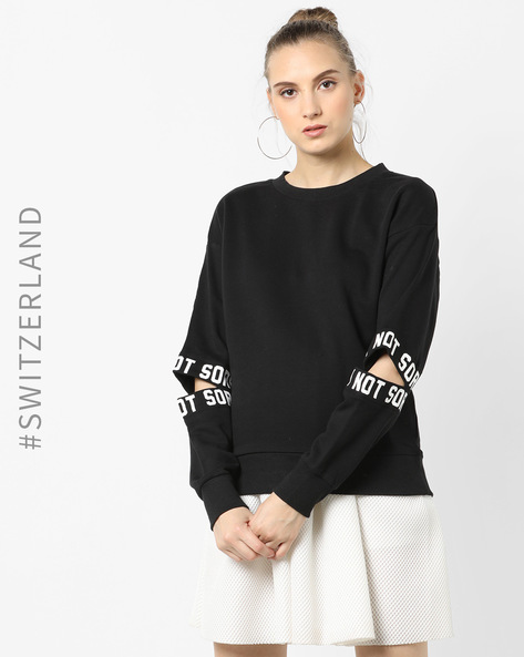 Crew-Neck Sweatshirt With Elbow Rips By TALLY WEiJL ( Black )