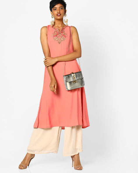 Sleeveless Flared Dress With Floral Embroidery By AJIO ( Coral )
