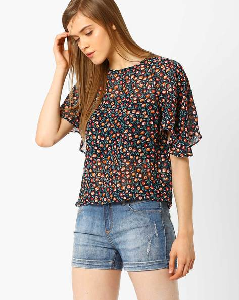Floral Print Top With Flared Sleeves By CHM ( Navy )