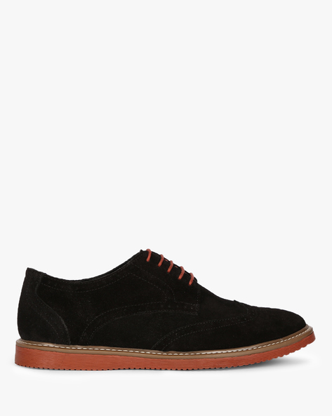 Genuine Leather N9-Treated Lace-Up Shoes With Broguing By AJIO ( Black )