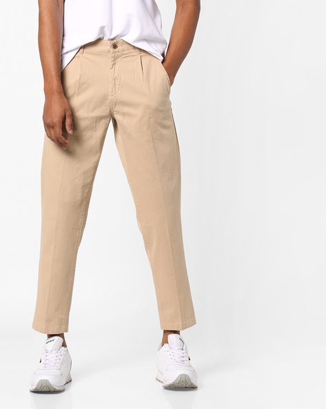 Single-Pleat Ankle Length Trousers By AJIO ( Khaki )