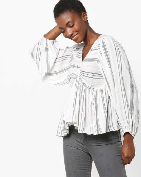 Striped Flared Top With V-neck By Rena Love ( White )